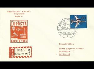 Berlin 1962, 60 Pf. m. Lochung LU/POST/A auf Reko Luftpost-Ausstellungs FDC