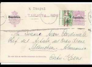 Spanien Ganzsache 1931 an d. Chef del Artista Zirkus Krone München. #2293