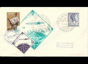 NL 1961, gez. Raketenpost Marke auf Brief m. Belgien/Luxemburg Frankatur