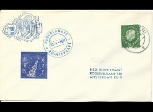 BRD 1961, 10 Pf. auf Brief m. NL. Raketenpost Marke u. 1st Man in Space Cachet