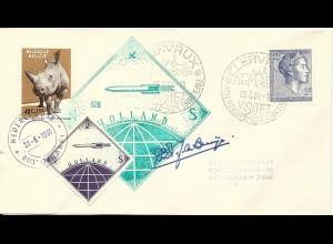 NL 1961, gez. Raketenpost Marke auf Brief m. Cachet u. Unterschrift v. de Bruijn