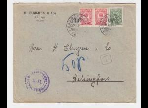Finnland Russland Währungs Mischfrankatur 1915, Brief m. Paar 10 Penni+2 Kop.