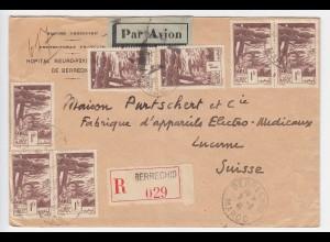 Marokko 1941, MeF 7x1 Fr. auf Berrechid Luftpost Einschreiben Brief i.d. Schweiz