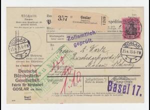 DR 1915, EF 80 Pf. auf Büro Selbstbucher Paketkarte v. GOSLAR i.d. Schweiz.