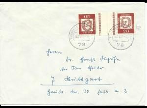 BRD 1967, Zusammendruck KZ3, 20+20 Pf. Bach auf Brief v. Freiburg