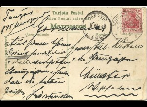 DP Marokko 1909, AK v. Tanger m. DR 10 Pf. u. Schiffspost Ostafrik. Hauptlinie o