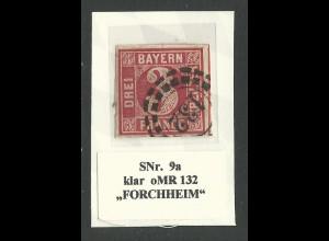 Bayern 9a, allseits breitrandige 3 Kr. m. klarem oMR 132, Forchheim