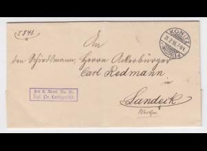 DR 1895, Konitz Westpreussen Polen, Brief Frei lt. Avers 21 Landgericht. #2284