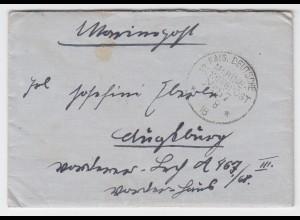 DR 1918, WK I Dt. Marine Schiffspost No87, Brief v. SMS Kurfürst n. Bayern #2285