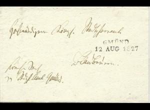 Württemberg 1827, L2 GMÜND auf Brief m. Inhalt n. Blaubeuren. Frühes Datum!