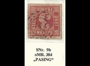 Bayern, oMR 384 PASING auf breitrandiger 3 Kr.