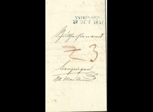 Württemberg 1847, L2 VAIHINGEN in blau auf Porto Brief
