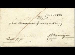 Württemberg 1833, L1 NERESHEIM u. innen L2 ELLWANGEN auf 2mal verwendetem Brief