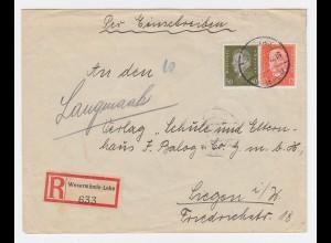 DR 1932, Wesermünde Lehe, Einschreiben Brief m. 12+30 Pf.n. Siegen. #1469
