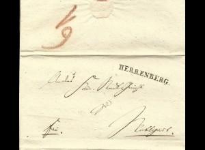 Württemberg 1838, L1 HERRENBERG u. innen L2 STUTTGART auf 2x verwendetem Brief