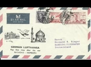 Irak 12.9.1956, Lufthansa Erstflug Brief Baghdad-Frankfurt. (Kat. 230 €)
