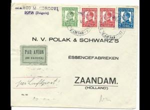 Bulgarien 1938, 1+2x2+7 L. auf Luftpost Brief v. Sofia n. NL