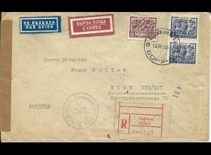 Bulgarien 1953, 2x1 L.+16 S. auf Luftpost Reko Express Brief v Sofia n. Wien