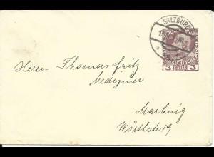 Österreich 1913, 3 H. Privat Ganzsache Brief, gebr. als Drucksache v. Salzburg.