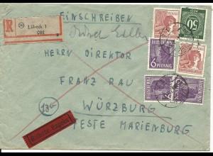 1947, 6 Marken auf portorichtigem Einschreiben Eilboten Brief v. Lübeck