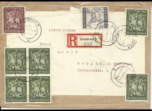 DR 1943, 8 Sondermarken portorichtig auf Einschreiben Brief v. Innsbruck