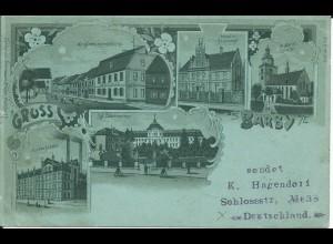 Gruß aus Barby, 1899 gebr. Litho AK m. Hospital, Zuckerfabrik u. Hotel Plümecke