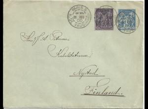 Frankreich 1900, 10 C. auf Ganzsache Brief v. Paris 6 n. Finnland. #1525