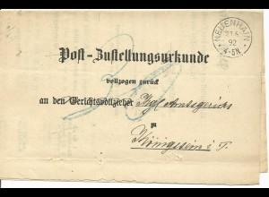 """DR 1892, K1 NEUENHAIN auf Zustellungs Urkunde n. Königstein. Porto """"30"""" Pfg."""