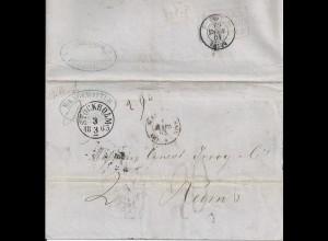 """Schweden Frankreich 1863, K1 Stockholm auf Brief m. Portostempel """"20"""". #2249"""