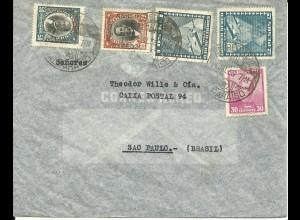 Chile 1936, 5 Marken auf Luftpost Brief v. Valparaiso n. Brasilien.