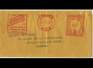 GB 1953, Streifband m. London Newspapers Werbe Freistempel
