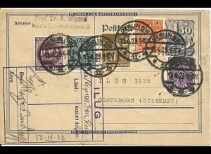 DR 1923, Karte v. Prof. Wigand a.d. Internat. Luftfahrt Ausstellung in Schweden