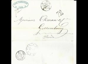 Frankreich 1859, Brief v. Paris n. Schweden m. Portostpl. 72 u. rs. KSPA Hamburg