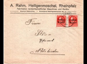 Bayern 1920, 2x15 Pf. Freistaat auf Firmen Brief v. Heiligenmoschel. #2674