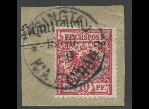 Kiautschou V3 II, 10 Pf China Schrägaufdr. Vorläufer-Briefstrück m. K1 Tsingtau