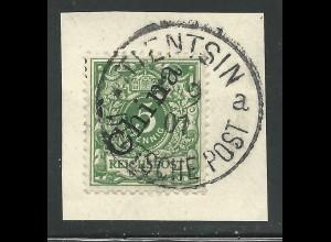 DP China 2 II, 5 Pf. auf schönem Briefstück m. Stpl. Tientsin DPa.