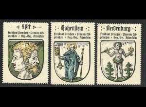 Preussen, Wappen Lyck, Meidenburg, Hohenstein, 3 Ostpreussen Sammelmarken