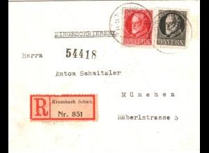 Bayern 1919, 25+10 Pf. auf Einschreiben Brief v. Krumbach. #2669