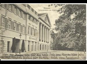 Bremen, Schauspielhaus m. Restaurant, 1919 gebr. sw AK n. Norwegen