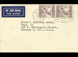 Neufundland, MeF 2x5 C. Caribou auf Luftpost Brief n. USA