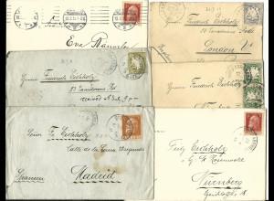 Bayern, Burgfarrnbach, Korrespondenz v. 6 Briefe u.a. n. Spanien u. GB