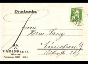 Bayern 1920, EF 5 Pf. Abschied auf Orts Drucksachenkarte v. München. #2622