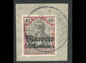 DP Marokko 27, 50 C./40 Pf. auf Briefstück m. Stpl. SAFFI. Geprüft