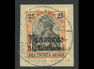 DP Marokko 38, 30 C./25 Pf. auf Briefstück m. Stpl. Tanger kk! Geprüft