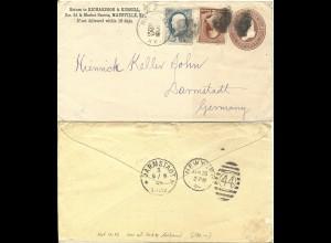 DR 1886, Klaucke Nr.47 DARMSTADT rs. als Ank.Stpl. auf Brief v. Maysville, USA