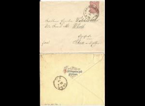 DR 1886, Klaucke Nr.161 WOLFENBÜTTEL auf Brief m.rs. Vers-Zudruck