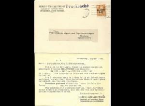 DR 1921, EF 10 Pf. Bayern Abschied aud Siemens Orts Karte v. Nürnberg