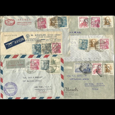 Spanien 1948/51, 6 airmail cover to USA. Commercial letters.