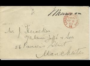 GB 1903, rot London Official Paid 16 auf Dienst Brief m. Namensstempel. #645