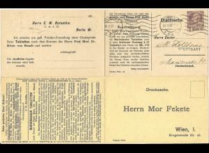 Österreich 1909, gebr. 3 H. Privat Ganzsache Doppelkarte Marienbader Tabletten